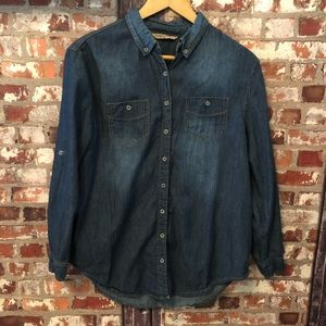 🌻🍂🍁HWY Jeans Darn Blue Denim Button Up EUC